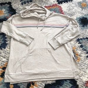 American Eagle Oversized Striped Hooded Shirt